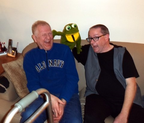 """Luke as """"Sigmund the Frog"""" with a new friend."""